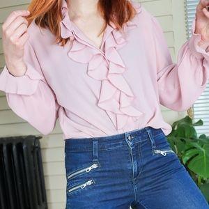 Vintage Blush pink Ascot flutter blouse